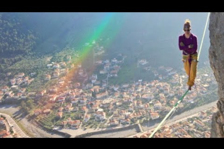 Laetitia Gonnon, 24, daredevil from Poland, made way across 280ft long slackline