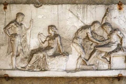 Ο Αχιλλέας θεραπεύει τον Τήλεφο με σκουριά από το δόρυ του - μουσείο Ερκολάνο Ιταλία