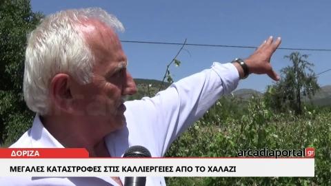 Τεράστια καταστροφή από το χαλάζι στα χωριά της ΔΕ Βαλτετσίου